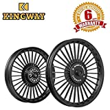 Kingway KS3A 30 Spokes Bike Alloy Wheel 19/18 Inch Black for Royal Enfield Classic (Set of 2)