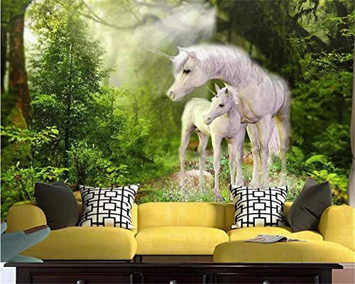 REAGONE Children'S Room Wall Custom Wallpaper Nature Green Forest White Horse High Quality Silk Material 3D Wallpaper Behang,430X300 Cm (169.3 By 118.1 In)
