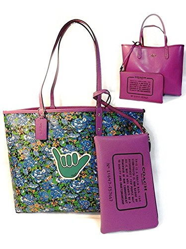 Coach F57667 Reversible City Tote In Rose Meadow Print Blue Multi Hycintha (Print Rosen-multi)