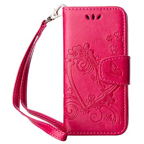 Opinioni per Cover iPhone 5s SE Rosso- Custodia a libro Flip