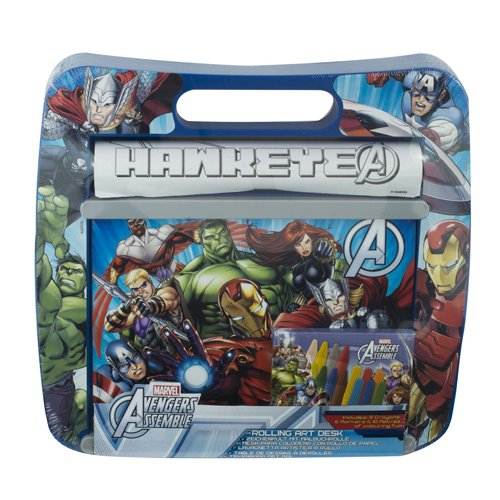 Officially Licensed | AVENGERS ASSEMBLE | Rolling Art Desk - Pens, Markers, Paper by Disney