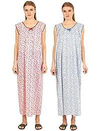 CIERGE Women's Printed Sleeveless Nighty Free Size (Red & Blue)