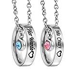 2 Stück Partner Halskette Set Ringe Anhänger mit Gravur für Sie und Ihn Silber Farbe