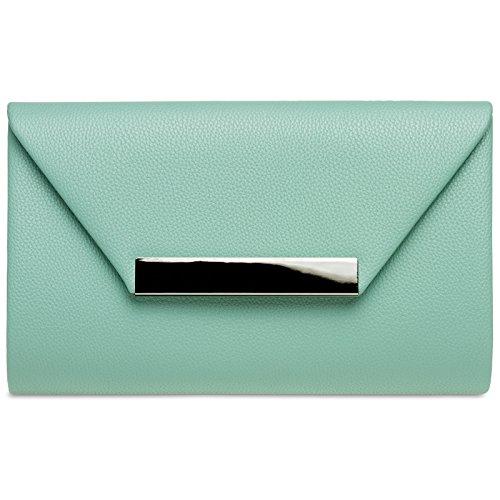 (CASPAR TA419 Damen XL Envelope Clutch Tasche Abendtasche, Farbe:mint;Größe:One Size)