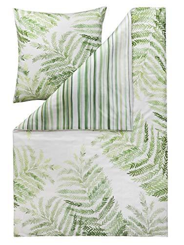 ESTELLA Mako-Satin Wendebettwäsche Fern grün 1 Bettbezug 135x200 cm + 1 Kissenbezug 80x80 cm
