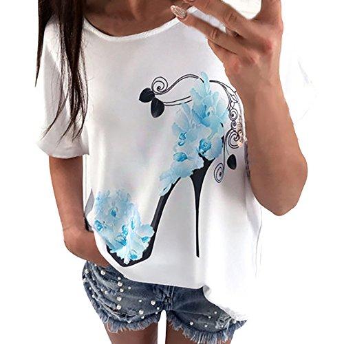 Geilisungren Kurzarm T-Shirt Damen Mode High Heels Pumps Drucken Bluse Große Größen Oberteile Frauen Sommer Casual Rundhalsausschnitt Tees Loose Fit Oversize Tunika Tops (S, Blau1)