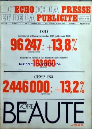 ECHO DE LA PRESSE ET DE LA PUBLICITE (L) [No 890] du 14/01/1974 - SOMMAIRE - INFORMATIONS - APRES LA DEMISSION DE DANIEL JOUVE JEAN-LOUIS SERVAN-SCHREIBER PREND LA PRESIDENCE DE LA SOCIETE TECHNIC-UNION - LES PROBLEMES DU PAPIER LES NOUVEAUX PRIX DOIT-ON CRAINDRE UNE PENURIE - LASSEMBLEE GENERALE DU SYNDICAT DE LA PRESSE AGRICOLE - LE COURRIER DE LOUEST IMPRIME EN OFFSET QUADRICHROMIE - SAUF DANS LOUEST LES QUOTIDIENS DE PROVINCE A 0,80 F - APRES LA PROMULGATION DE LA LOI ROYER PRINCI