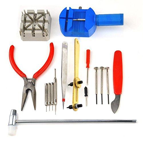 Hikenn 16 Stück Deluxe Uhr-Reparatur-Werkzeug Uhr Öffner Werkzeug Kit Reparatur Pin Remover