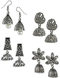 Zaveri Pearls Pack Of Four Oxidised Silver Jhumki Earrings For Women - Zpfk5718