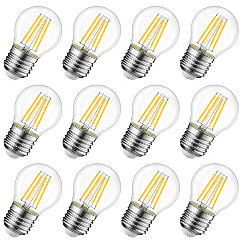 Lampadina LED E27 a Filamento, LVWIT G45, 4W equivalenti a 40W, 470Lm, Luce Bianca Calda 2700K,Mini Globo, Non dimmerabile - Pacco da 12