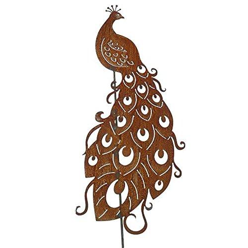 Wunderschöner & Hochwertiger Gartenstecker - Tier Figur - Rost Stecker/Tierfigur - Große Auswahl - Edelrost Gartenfigur - Metall Gartendeko (Pfau - Länge 150cm)