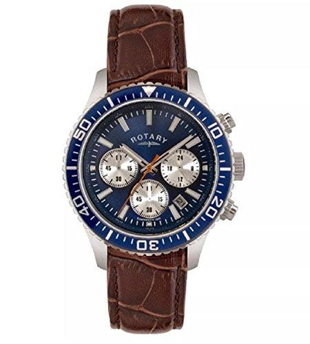 Rotary GS00356/05 - Reloj de pulsera para hombre, correa de piel marrón, esfera azul, cronómetro, fecha