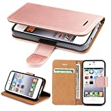 SOWOKO iPhone 4 Hülle, iPhone 4S Hülle, Leder Etui Flip Case Handyhülle für iPhone 4/4S Brieftasche Tasche mit Integrierten Kartensteckplätzen und Ständer/Magnetverschluss, Rose Gold