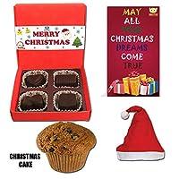 BOGATCHI Christmas Premium Gift Set, Christmas Plum Cake (40g), Christmas Dark Chocolates Box + Free Santa Cap + Free Merry Xmas Card