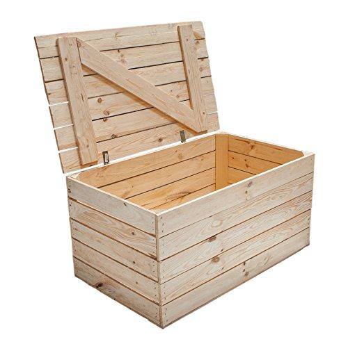 Neue Holztruhe natur *groß* - Truhe aus Holz unbehandelt - Holzkiste Aufbewahrungstruhe Wäschetruhe Spielzeugkiste Schatzkiste - XXL extra viel Stauraum 85x55x46cm