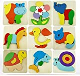 Wooden Toys Set of 3 Wooden Cartoon Pattern Puzzle Blocks for Kids & Children