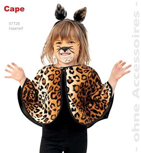 Cape Leo 104/116 mit Kapuze Umhang Leopard Kinder Fasching Kostüm