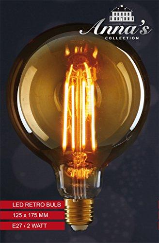Glühfaden LED Leuchtmittel 125x175mm LED Leuchte Dekolampe Bulb E27 2Watt 170lm 1800K (Beleuchtete Fensterdekoration Für Halloween)