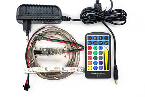 Preisvergleich Produktbild LED-Box WS2812B LED-Basic-Controller mit Netzteil Fernbedienung 2m Strip mit 60 LEDs weiss