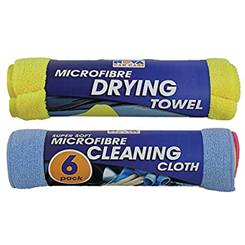 Large Microfibre Drying Towel + 6 Pack Microfibre Cleaning Cloths