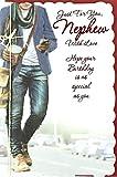 Cards Galore Online 'Geburtstagskarte für Neffen–Young Man Holding Handy & Hot Drink 26,7x 17,8cm