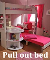 Stompa Casa 4 White Loft Bed with Desk and Pink Sofa Bed