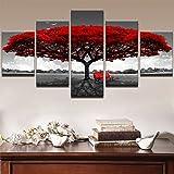 XLST Modern Segeltuch Rahmen Bilder HD-Drucke 5 Stücke Rot Baum Rot Bank Landschaft Leben Zimmer Zuhause Dekor Wandkunst Gemälde Poster,30x40x230x60x230x80x1