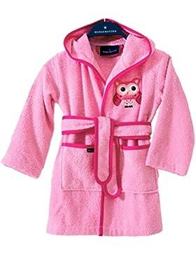 Morgenstern, Bademantel für Kinder, Kinderbademantel mit Kapuze, Gr. 122/128, Farbe rosa, Motiv Eule, 100 % Baumwolle...