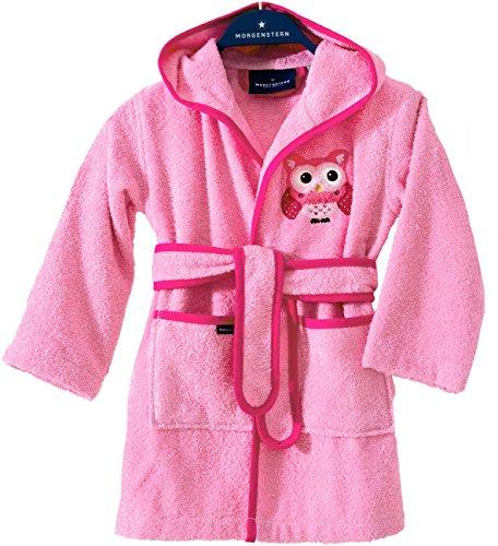 Morgenstern Kinderbademantel Rosa mit Eule und Kapuze einfarbig Frottee Kleinkind Muster Gr. 110 116 Motive Tier Mädchen pink Bademantel