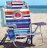 Tommy Bahama Silla de Playa Tipo Mochila Reclinan 5 Posiciones (Tropical Stripes)