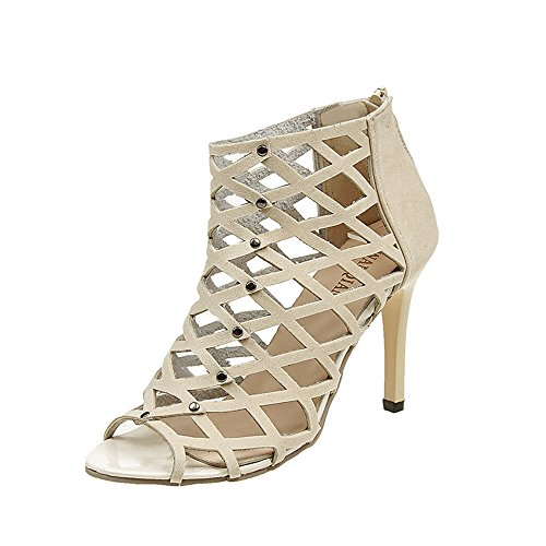 Makefortune  Damenmode Peep Toe High Heels Schuhe Niet Roman Gladiator Sandalen Stilettos Bootie Club Party Schuh Schwarz Wein Beige