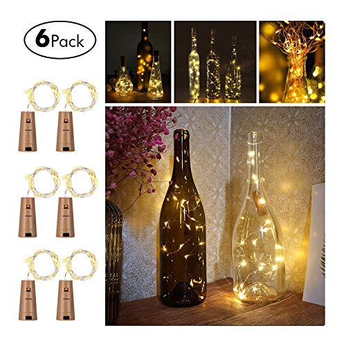 LED Flaschen-Licht Lichterkette flaschenlichterkette korken LED Nacht Licht Weinflasche Hochzeit Party romantische Deko (Warmes Weiss-6 Pack) ()