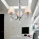 Lámpara cristal lujosa y elegante de estilo europeo moderado Lámpara de araña cristal de 3 piezas para sala de estar Lámpara de araña cristal moderna para dormitorio