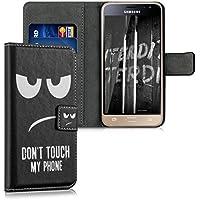 kwmobile Hülle für Samsung Galaxy J3 (2016) DUOS - Wallet Case Handy Schutzhülle Kunstleder - Handycover Klapphülle mit Kartenfach und Ständer Don't touch my Phone Design Weiß Schwarz