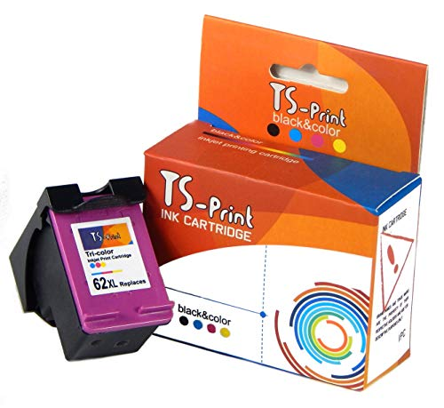 TS-Print Cartucho de Tinta Compatible con HP-62-XL Tri-Colores Tri-Color