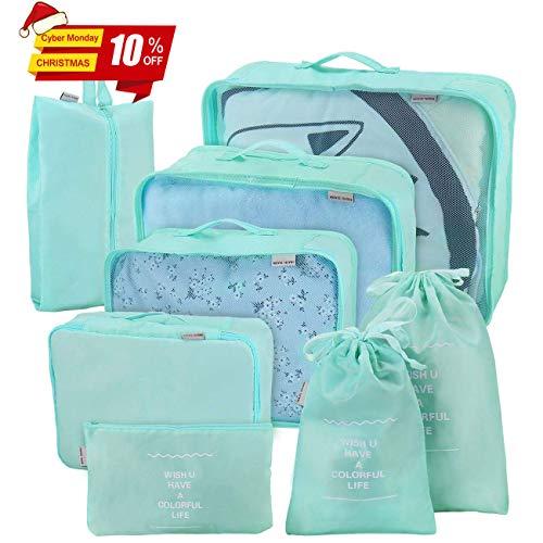 Joyoldelf juego de 8 esencial bags-in-bag embalaje cubos de viaje, upgraded maleta equipaje Organizador bolsas de almacenamiento para seco de ropa, zapatos, ropa interior, cosméticos (azul claro)