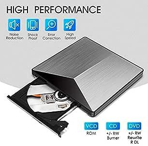 Lecteur CD DVD Externe,OUDEKAY USB 3.0 Graveur DVD/CD Externe d'Alliage d'Aluminium Ultra-Portable CD DVD +/-RW ROM Player pour Windows 2003/Vista/XP/7/8.1/10/Linux/Mac OS…