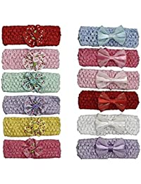 Set of 12 Pieces Fancy New Born Baby Girls Cute Hair Bands/Girls Hairbands (Color May Vary)