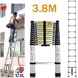 autofather Mehrzweck-Verlängerung 3,8m Leiter Auminium Teleskop Heavy Duty 150kg Tragkraft ausziehbar Climb Schritt hilfreich Kit für Home Loft Garten Outdoor, UK Lager