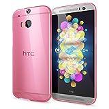 NALIA Handyhülle für HTC One M8 M8S, Ultra-Slim Silikon Case Cover, Dünne Crystal Schutzhülle, Etui Handy-Tasche Back-Cover Bumper, TPU Gummihülle für HTC One M8S M8 Phone - Transparent/Pink