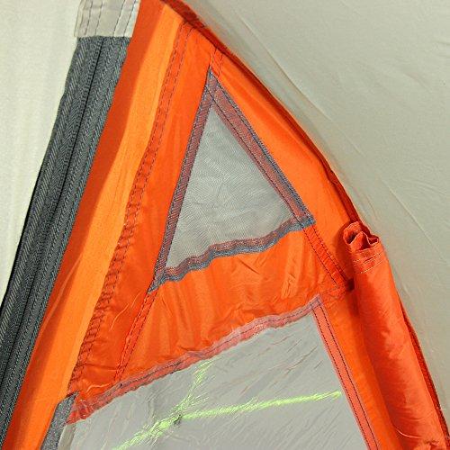 10T Mandiga 3 Orange - Tunnelzelt für 3 Personen, Campingzelt mit großer Schlafkabine, wasserdichtes Familienzelt mit 5000mm, Zelt mit 2 Eingängen und 2 Fenstern, Festivalzelt mit Dauerbelüftung, 3 Mann Zelt mit Tragetasche, Zeltheringe und Zeltgestänge - 22