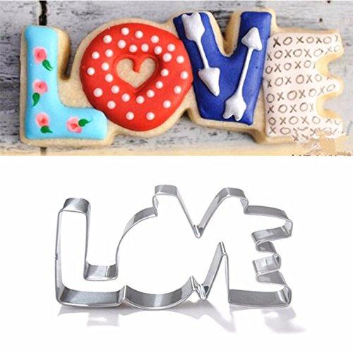 Lanlan Käse Fondant Kuchen Form Cutter Cookies spritzwerkzeug DIY Edelstahl Mousse Ring LOVE Form (Silikon-oreo-cookie-schimmel)