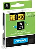 Dymo D1 Standard Self-Adhesive Labels for LabelManager Printers, 9 mm x 7 m - Black Print on Yellow