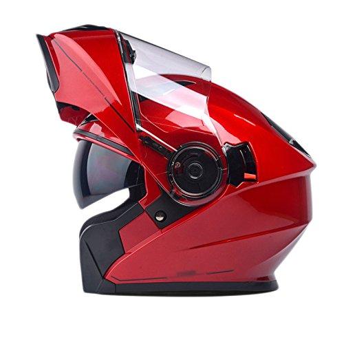 MHSXN Motorräder Helme Anti-Nebel-Lokomotiven Unisex Offroad Dual Lens Sicherheit Atmungsaktive Helme,Red-Within62CM