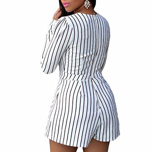QIYUN.ZManches Longues Rayures Mode Casual Femmes V Cou Combinaisons Avec Fermeture À Glissière Blanc