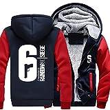 Winter Hoodie Plus Dick Zip Jacke Sweatshirt Warm Mantel Unisex Cosplay Verrücktes Kleid Kostüm für Erwachsene Kleidung (Red Sleeve, S)