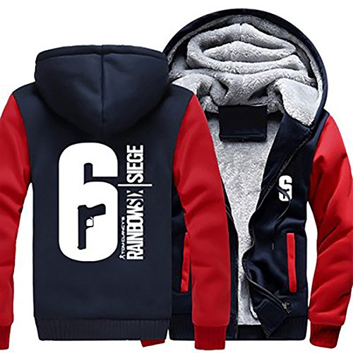 Winter Hoodie Plus Dick Zip Jacke Sweatshirt Warm Mantel Unisex Cosplay Verrücktes Kleid Kostüm für Erwachsene Kleidung (Red Sleeve, M)