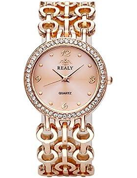JSDDE Uhren,Elegant Damen Armbanduhr Strass Chic Manschette Spangenuhr Armkette Armreif Uhr Analog Quarzuhr,Rosegold