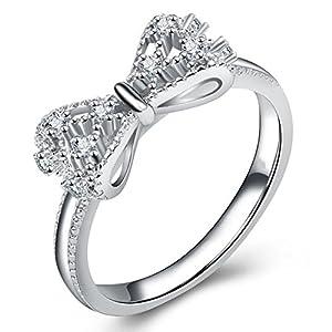 Impression 1PCS Ringe Ring Schleife Diamant-Ring Mode-Ring Open Glas Girl Schmuck-Zubehör-Valentinstag-Geschenke Hochzeit Ring-Silver