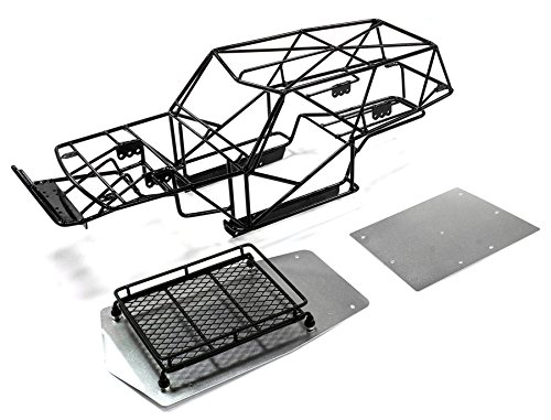 Integy RC Model Hop-ups C25668SILVERBLACK V2 Realistic T2 Steel Roll Cage Body w/ Luggage Tray for Axial Wraith (Cage Tray)